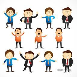 Creative stylish different business character on beige background.