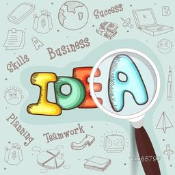 Set of various business infographic elements with colorful text Idea and magnifying glass.