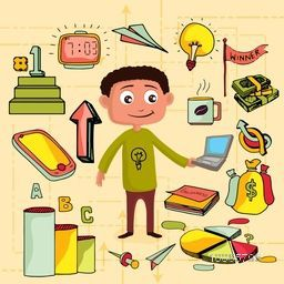 Illustration of a man holding laptop with colorful creative social media icons.
