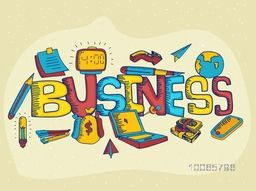 Creative colorful business inforaphic elements with text Business on stylish background.
