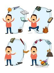 Illustration of a businessman character in different pose with various colorful business elements.