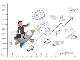 Creative stylish illustration of a growing chart with a young businessman flying on rocket and trying to reach his success goal.