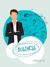 Young businessman with various business infographic elements, can be used as sticker, tag or label design.