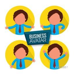 Stylish sticker, tag or label of young businessman avatar in different pose.