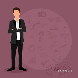 Illustration of a young businessman with various infographic elements for your business presentation and publication.