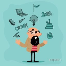 Illustration of a businessman with various business infographic elements includes winning podium, money bag, laptop, stationery, winner flag etc.