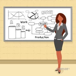 Creative illustration of young businesswoman presenting, How creative success in their business by various infographic elements.