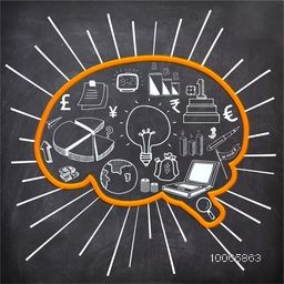 Stylish business infographic elements created by white chalk on blackboard background in brain shape for Idea concept.