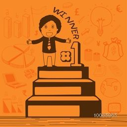 Illustration of a businessman standing on winning podium with various business infographic elements.