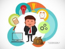 Illustration of a businessman thinking about his successful career with various business infographic elements.