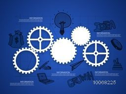 Shiny cogwheels with other infographic elements on blue graph paper background for your business reports and presentation.