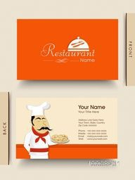 Stylish business or visiting card design with illustration of a chef for restaurants business purpose.
