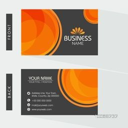 Creative two sided business card design on grey background for your company or organization.