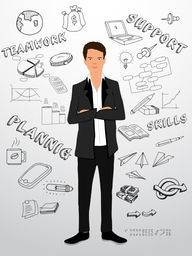 Illustration of a young businessman with various infographic elements on glossy grey background.