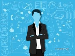 Illustration of a young business man with various infographic elements on sky blue background for professional reports presentation.