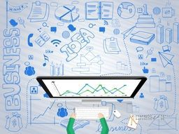 Illustration of human hand working on desktop with various statistical infographic elements for your business reports and presentation.