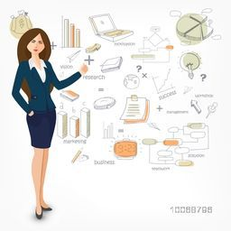 Creative illustration of a businesswoman presenting various colorful business elements on white background.