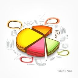 3D glossy colorful pie chart with various business infographic elements on white background.