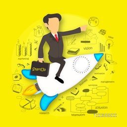Illustration of young businessman flying on rocket and holding start up business bag on various business infographic elements, yellow background.