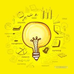 Creative business infographic layout for idea concept with various business infographic elements on yellow background.