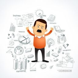 Illustration of a happy businessman with various business infographic elements for your print, presentation and publication.