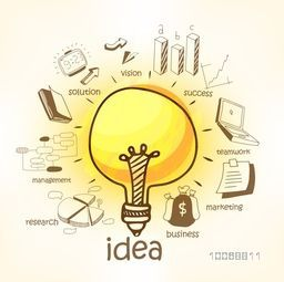 Stylish creative business infographic layout with bulb for idea concept and various business elements.