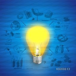 Creative stylish business infographic layout with electric bulb for idea concept.