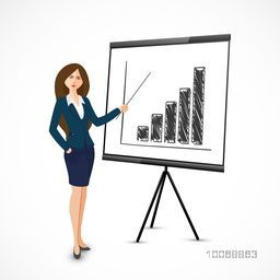 Illustration of a young business woman presenting business reports by using bar charts on shiny grey background.