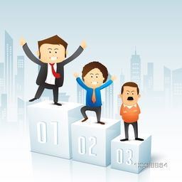 Illustration of business man standing on podium in different styles on urban city background.