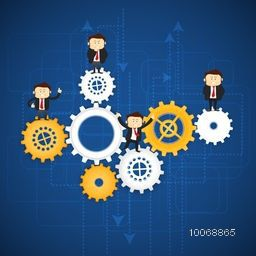 Illustration of cogwheels with business men in differen pose on abstract blue background.