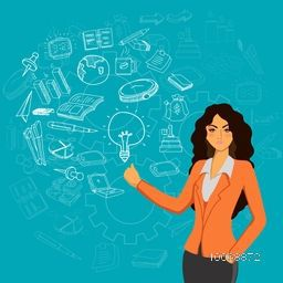 Illustration of a fashionable young businesswoman presenting various business infographic elements on sky blue background.