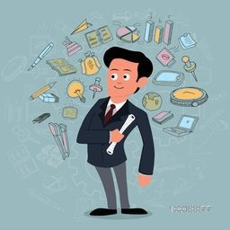 Illustration of a young businessman with colorful set of business infographic elements on stylish background.