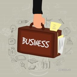 Illustration of a businessman brief case with various business infographic elements on stylish background.