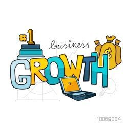 Glossy colorful text Growth with business elements includs money bag, laptop and podium.