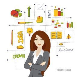 Young fashionable businesswoman with various colorful business infographic elements on white background.