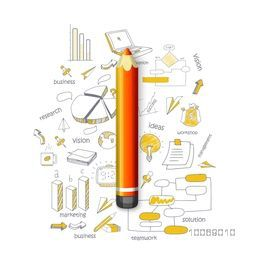 Glossy pencil with creative stylish business infographic elements on white background.