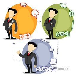 Sticker, tag or label with young businessmen and various elements on white background.
