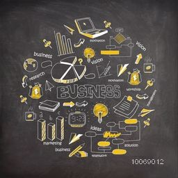 Professional business infographic elements created on chalkboard background.