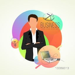 Creative illustration of a young businessman with business elements on abstract colorful background. Can be used as sticker, tag or label.