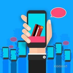 Illustration of human hand holding smartphone on shiny sky blue background.