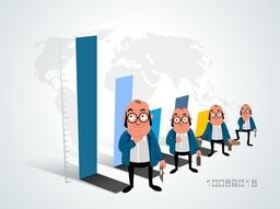 Funny illustration of a business man with infographic bars on shiny background.