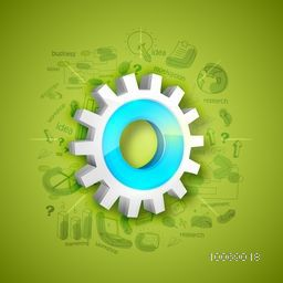 Shiny 3D cogwheel with various statistical infographic elements for business presentation on green background.