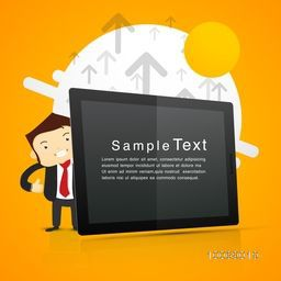 Illustration of a business man with digital device on abstract orange background.