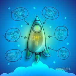 Creative flying rocket showing process of business startup on stars decorated shiny blue background.