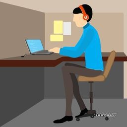 Illustration of a young business man working on laptop and wearing headphone on stylish background.
