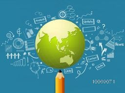 Stylish business infographic layout with pencil and mother earth globe on various business infographic elements background.