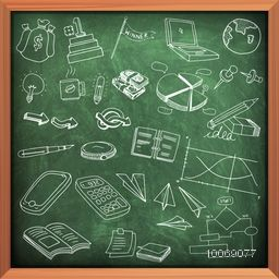 Set of various business infographic elements created by white chalk on green chalkboard background.