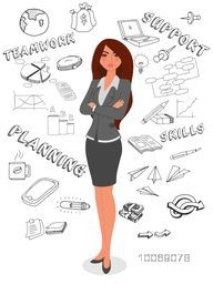 Illustration of a stylish businesswoman with various infographic elements on white background.