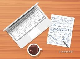 Creative illustration of laptop, tea cup and various business infographic elements on paper with pencil.