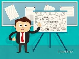 Young happy businessman giving a best presentation by various business infographic elements.